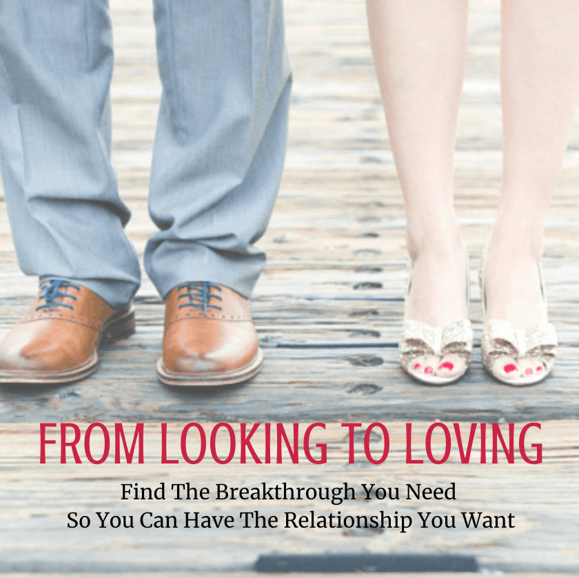 Man in dress pants and shoes and woman in gold heals with words From Looking To Loving for singles course